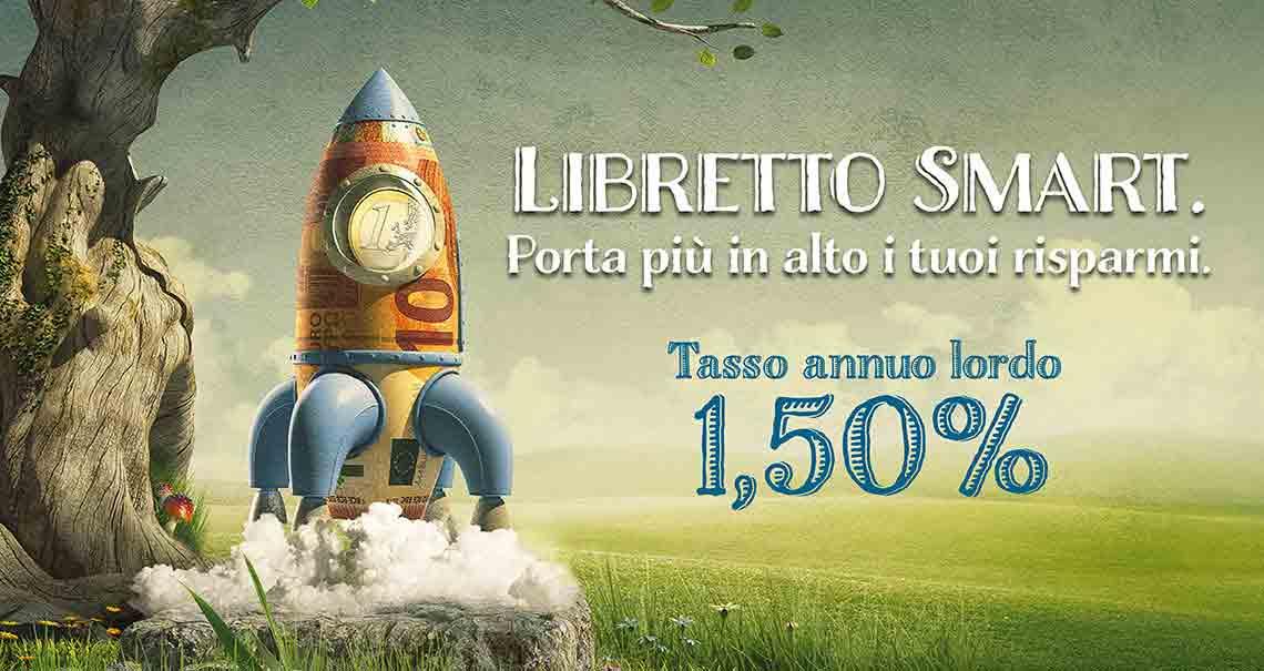 Pubblicità del Libretto Smart di Poste Italiane con rendimento 1.50 percento lordo